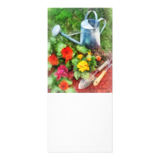 Zinnias and Watering Can Rack Card