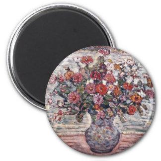 Zinnias by Maurice Prendergast, Vintage Floral Art 2 Inch Round Magnet