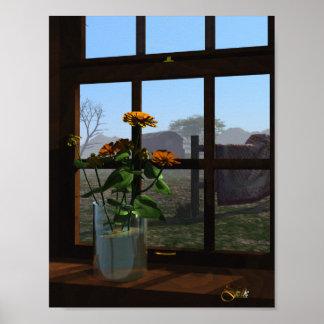 Zinnias del Windowsill Posters