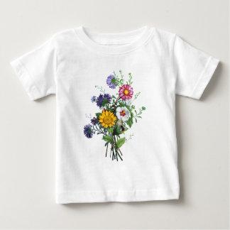 Zinnias, Hollyhocks & Sunflower Bouquet by Prevost Baby T-Shirt