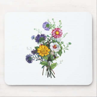 Zinnias, Hollyhocks & Sunflower Bouquet by Prevost Mouse Pad