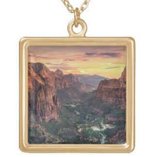 Zion Canyon National Park Square Pendant Necklace