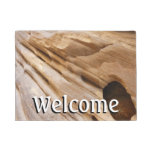 Zion Canyon Wall I Abstract Nature Photography Doormat