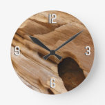 Zion Canyon Wall I Abstract Nature Photography Round Clock