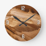 Zion Canyon Wall II Red Rock Abstract Photography Round Clock