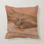 Zion Chipmunk on Red Rocks Throw Pillow