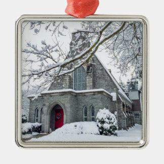 Zion Episcopal Church Square Metal Christmas Ornament