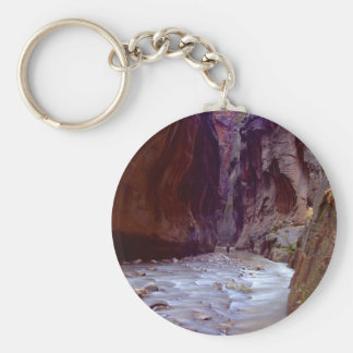 Zion Narrows Hiking Through The River In Zion Narr Basic Round Button Keychain