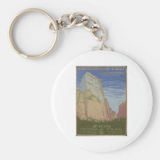 Zion National Park 1938 Springdale Utah Basic Round Button Keychain