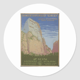 Zion National Park 1938 Springdale Utah Classic Round Sticker