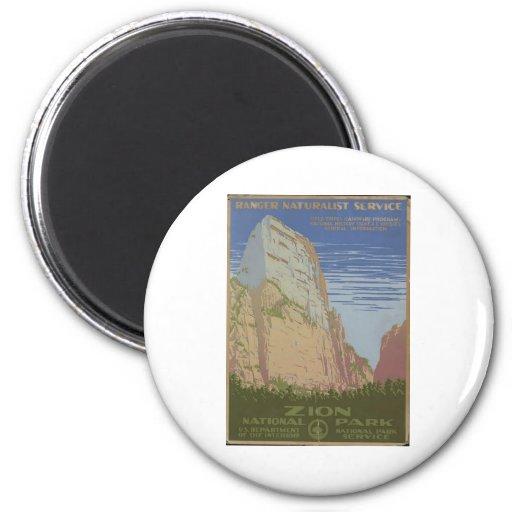 Zion National Park 1938 Springdale Utah 2 Inch Round Magnet