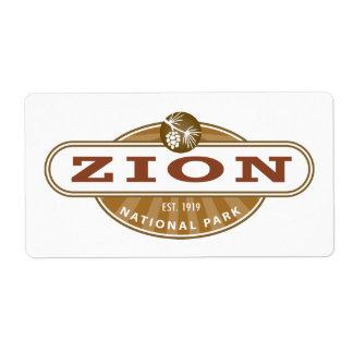 Zion National Park Label