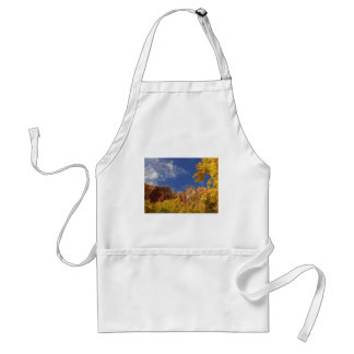 Zion National Park Tree With Yellow Leafs And Hill Apron