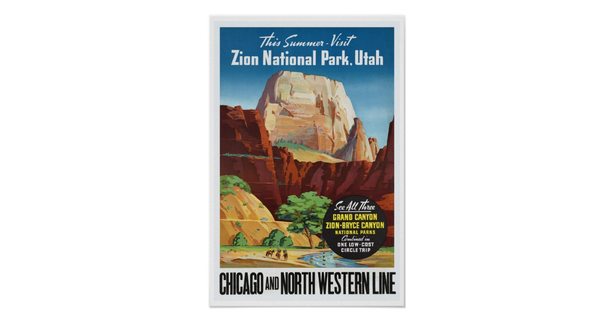 Zion National Park Utah Vintage Travel Poster Zazzle Com