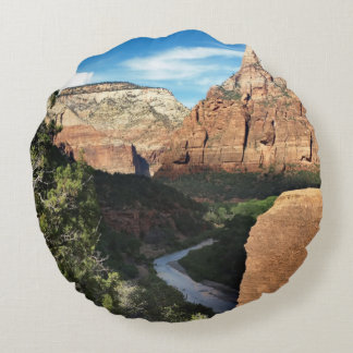 Zion National Park Utah Virgin River Round Pillow