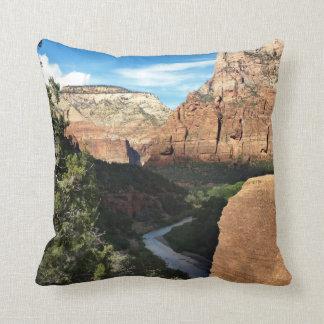 Zion National Park Utah Virgin River Throw Pillow