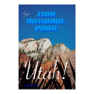 Zion National Park - Vintage Style Poster