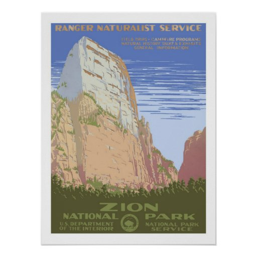 Vintage Travel Posters National Park: Zion National Park Vintage Travel Poster