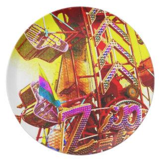 ZIP Carnival Fair Zipper Ride Pop Art Photo Dinner Plate