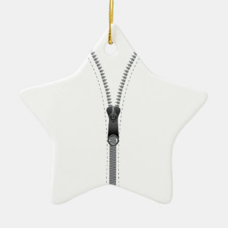 Zip design ceramic ornament