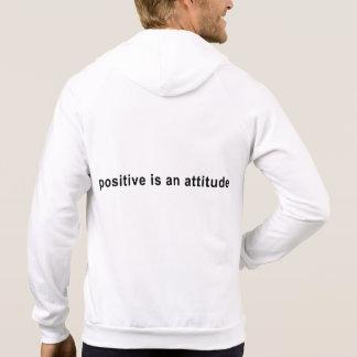 Zip Hoodie - Logo Front, Positive attitude Back
