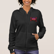 Zip Hoodie w. Pink, Red and Orange Digital Pattern