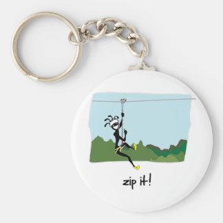 """""""Zip It!"""" Basic Round Button Keychain"""