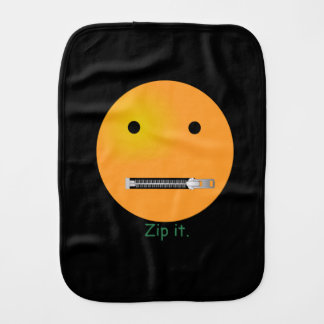 Zip It Happy Face Smiley - Black Background Baby Burp Cloth