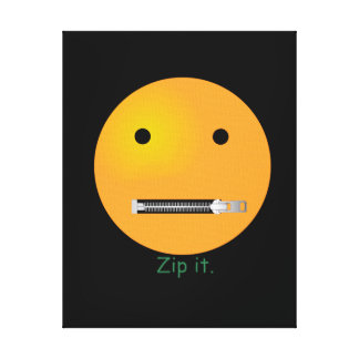Zip It Happy Face Smiley - Black Background Stretched Canvas Prints