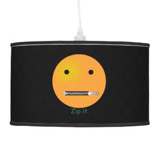 Zip It Happy Face Smiley - Black Background Hanging Lamp
