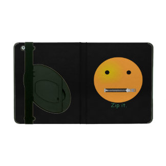 Zip It Happy Face Smiley - Black Background iPad Covers