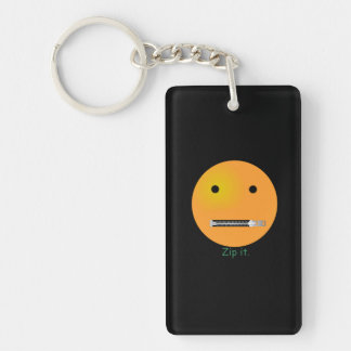 Zip It Happy Face Smiley - Black Background Keychain