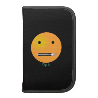 Zip It Happy Face Smiley - Black Background Folio Planners