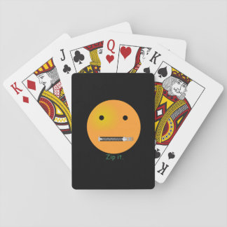 Zip It Happy Face Smiley - Black Background Playing Cards