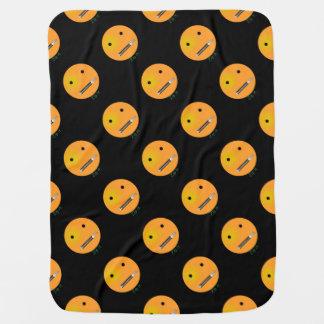 Zip It Happy Face Smiley - Black Background Receiving Blanket