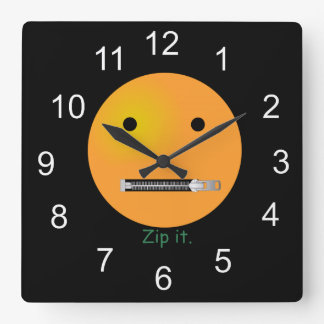 Zip It Happy Face Smiley - Black Background Square Wall Clock