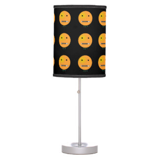 Zip It Happy Face Smiley - Black Background Table Lamp