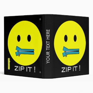'zip it'  SMILEY FACE BINDER