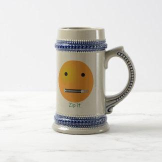 Zip It Smiley Face Emoticon 18 Oz Beer Stein