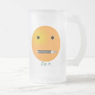 Zip It Smiley Face Emoticon Mugs