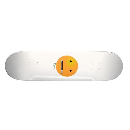 Zip It Smiley Face Emoticon Skate Deck