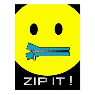 'zip it'  SMILEY FACE POSTCARD