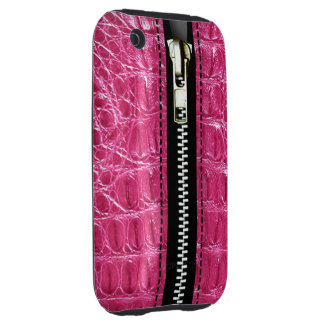Zip It Up Alligator hard plastic (hot pink) iPhone 3 Tough Cover