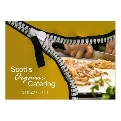 Zip it up business card template catering zazzle for Catering business cards samples
