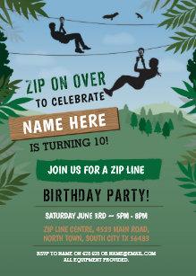 Zip line birthday invitations announcements zazzle zip line birthday adventure park outdoor invite stopboris Gallery