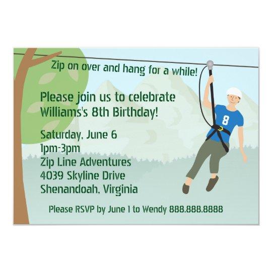 Zip line lining birthday party card zazzle zip line lining birthday party card stopboris Gallery