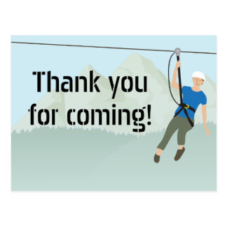 Zip Line Lining Birthday Thank You Postcard