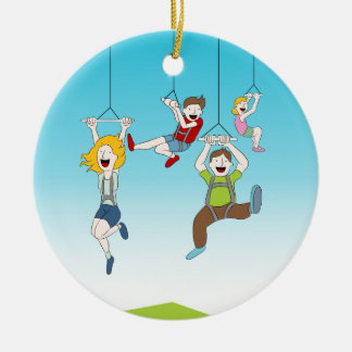 Zip Line Riders Ceramic Ornament