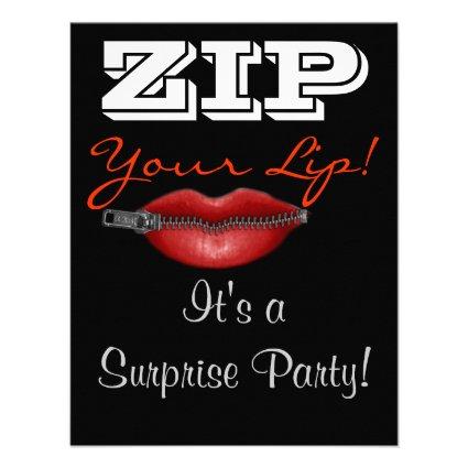 ZIP your lip surprise party invite