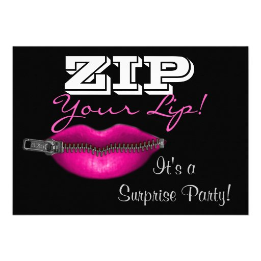 ZIP your lip surprise party invite hot pink lips